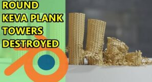 Destroying Round Keva Plank Towers – Blender Physics