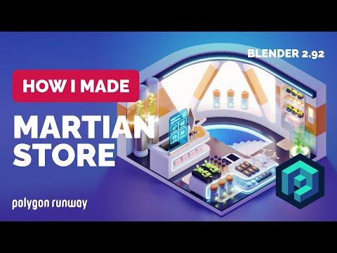 Martian Store Diorama in Blender 2.92 – 3D Modeling Process