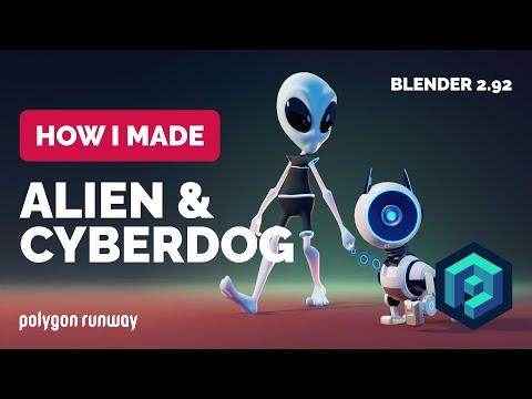 Alien & Cyberdog in Blender 2.92 – 3D Modeling Process