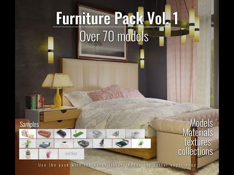 blender architecture furniture pack and blender asset library update