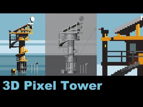 Modelling a 3D Pixelart Ocean Observatory [Stream]