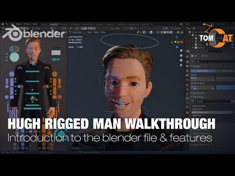 Hugh Rigged Man Blender File Intro Walkthrough