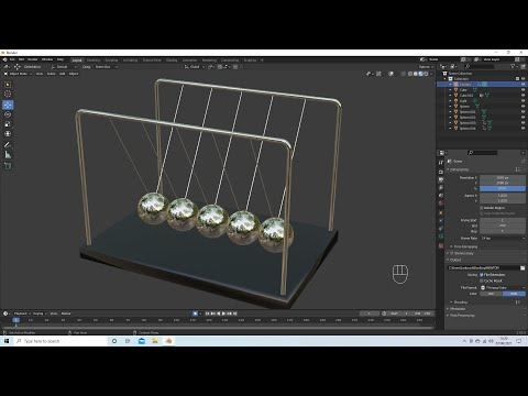 Blender 2.92 Tutorial: How To Make And Animate A Simple 3d Newton's Cradle.