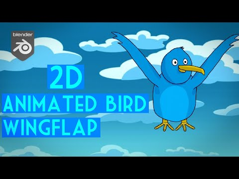 [Blender Grease Pencil/ 2D Animation] How to Animate 2D Bird / Wing flap