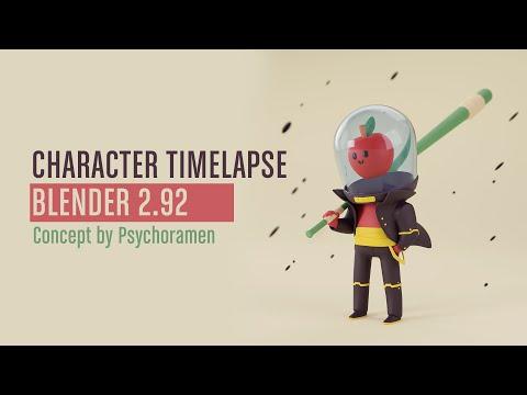 CHARACTER TIMELAPSE IN BLENDER 2.92 – Concept by Psychoramen