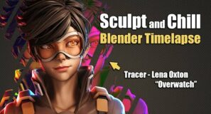Sculpt and Chill – Tracer [Overwatch] – 3D Blender Timelapse
