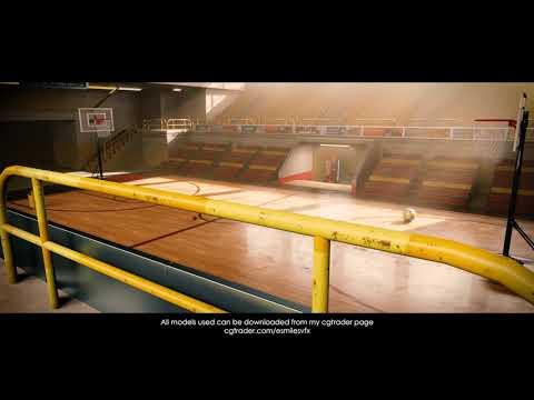 full basketball stadium made in blender, rendered with eevee