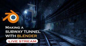 🔴 blender live  – Making a subway tunnel in blender