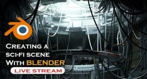 🔴 blender live  – Creating a scifi scene in blender