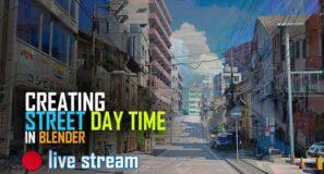 🔴 blender live  – creating A city street in blender