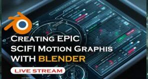 🔴 blender live  – creating scifi HUD and motion graphics animation in blender