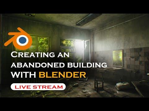 🔴 blender live  – creating a post apocalypse abandoned building in blender
